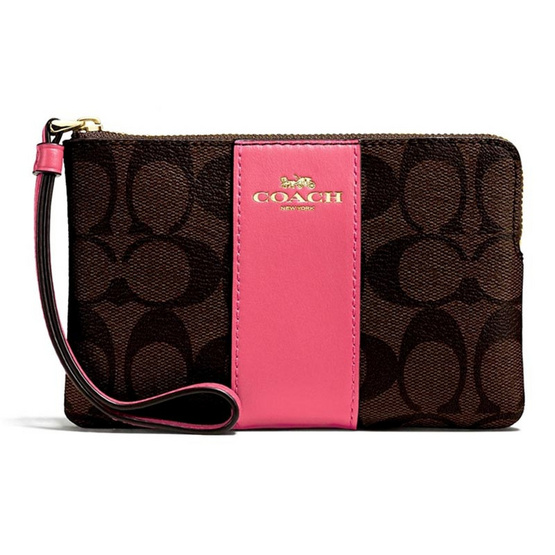 COACH F58035 CORNER ZIP WRISTLET IN SIGNATURE COATED CANVAS WITH LEATHER STRIPE (IMLOQ) [MCF58035IMLOQ]