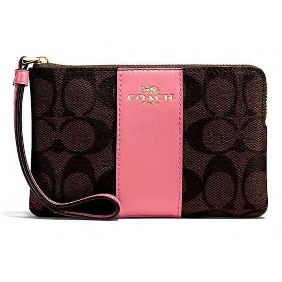 COACH F58035 CORNER ZIP WRISTLET IN SIGNATURE COATED CANVAS WITH LEATHER STRIPE (IMO67) [MCF58035IMO67]