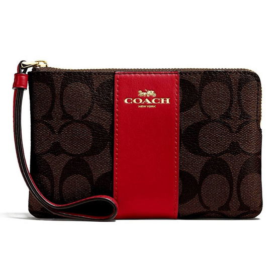 COACH F58035 CORNER ZIP WRISTLET IN SIGNATURE COATED CANVAS WITH LEATHER STRIPE (IMOG7) [MCF58035IMOG7]