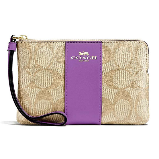 COACH F58035 CORNER ZIP WRISTLET IN SIGNATURE COATED CANVAS WITH LEATHER STRIPE (IMOG8) [MCF58035IMOG8]