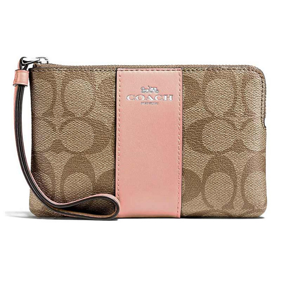 COACH F58035 CORNER ZIP WRISTLET IN SIGNATURE COATED CANVAS WITH LEATHER STRIPE (SVAVK) [MCF58035SVAVK]