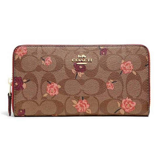 COACH F67538 ACCORDION ZIP WALLET IN SIGNATURE CANVAS WITH TOSSED PEONY PRINT (IMLL9) [MCF67538IMLL9]