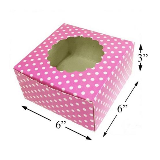 ตราสนคู่ กล่องเค้ก 0.5 ปอนด์ สูง เจาะดอกไม้ สีชมพู (1 แพ็ค 50 ชิ้น)