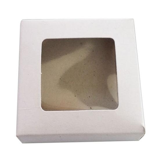 ตราสนคู่ กล่องแฮนเมดแบนจัตุรัส บราวนี่ จิ๋ว เจาะ สีขาว (10 ชิ้น x 5 แพ็ค)