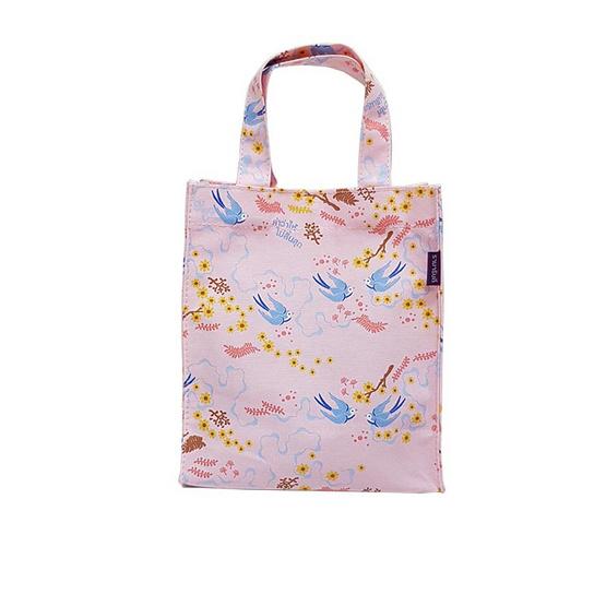 กระเป๋าทรงtote ลาย Little Bird ใบเล็ก สีชมพู