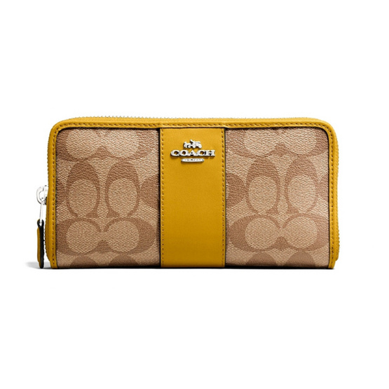 COACH F54630 ACCORDION ZIP WALLET IN SIGNATURE COATED CANVAS WITH LEATHER STRIPE (SVOG6) [MCF54630SVOG6]