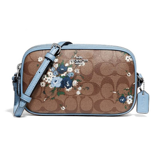 COACH F72428 CROSSBODY POUCH IN SIGNATURE CANVAS WITH FLORAL BUNDLE PRINT (SVLMB) [MCF72428SVLMB]