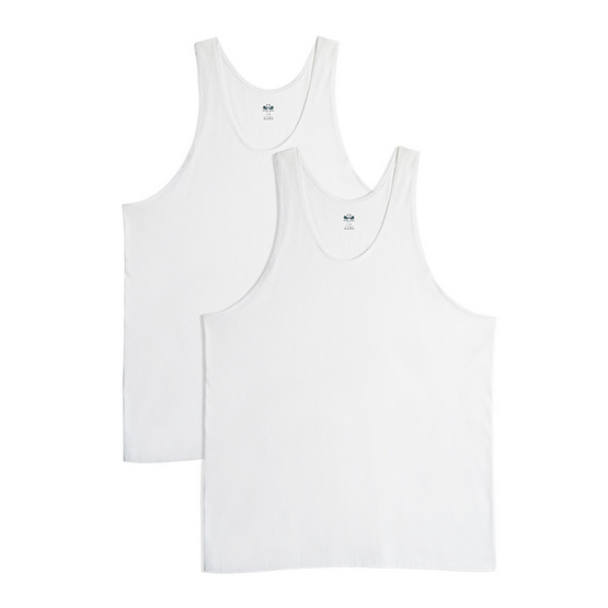 Double Goose ตราห่านคู่ เสื้อกล้าม ไร้ตะเข็บข้าง Relax Fit สีขาว Pack 2 รุ่น Modern
