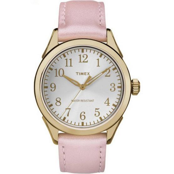 Timex TM-TW2P99100 นาฬิกาข้อมือผู้หญิง สายหนัง สีชมพู