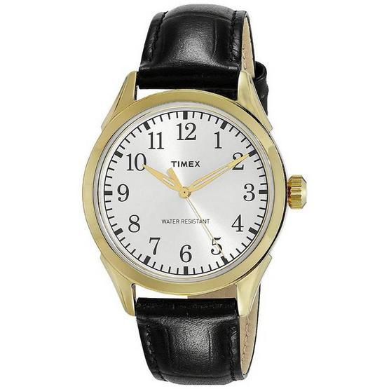 Timex TM-TW2P99600 นาฬิกาข้อมือผู้ชาย สายหนัง สีดำ