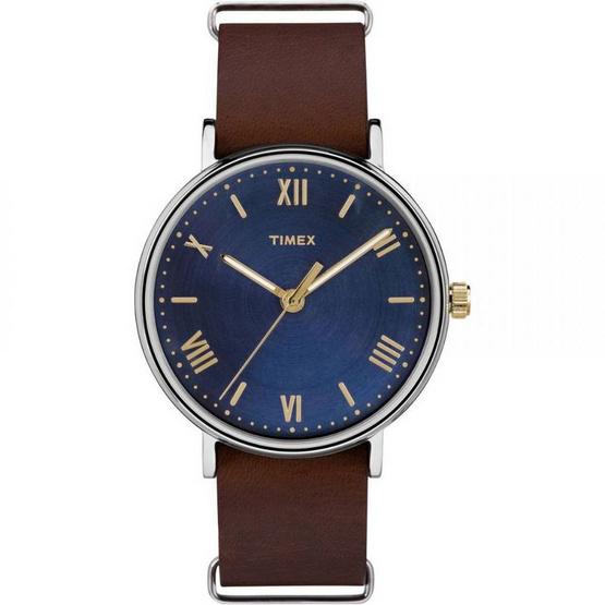 Timex TM-TW2R28700 นาฬิกาข้อมือผู้ชายและผู้หญิง สายหนัง สีน้ำตาล