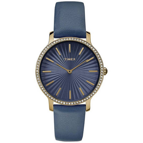 Timex TM-TW2R51000 นาฬิกาข้อมือผู้หญิง สายหนัง สีน้ำเงิน