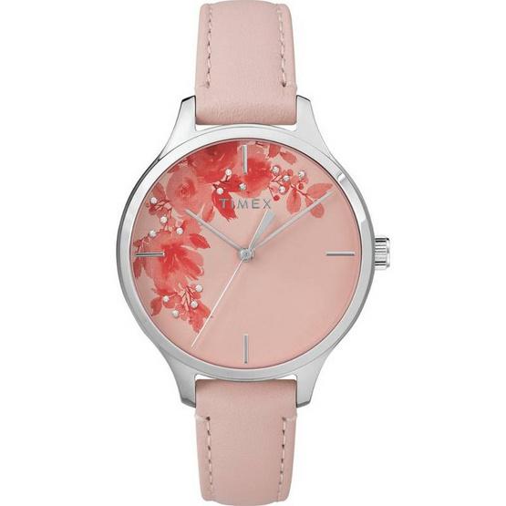 Timex TM-TW2R66600 นาฬิกาข้อมือผู้หญิง สายหนัง สีชมพู