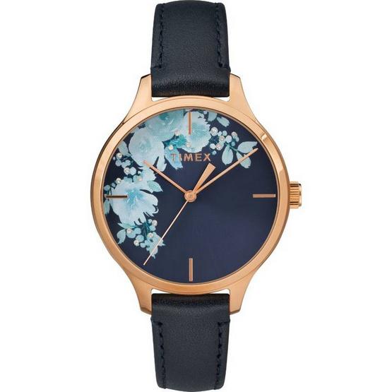 Timex TM-TW2R66700 นาฬิกาข้อมือผู้หญิง สายหนัง สีกรมท่า