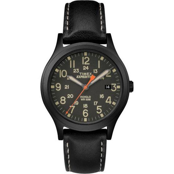 Timex TM-TW4B11200 นาฬิกาข้อมือผู้ชายและผู้หญิง สายหนัง สีดำ