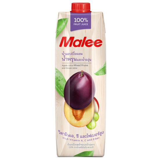 มาลี น้ำแอปเปิ้ลผสมน้ำพรุนและน้ำองุ่นขาว 100% 1000มล. ยกลัง12กล่อง