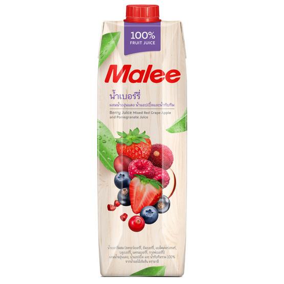 มาลี น้ำเบอร์รี่ผสมน้ำแอปเปิ้ลและน้ำทับทิม 100% 1000มล. ยกลัง12กล่อง
