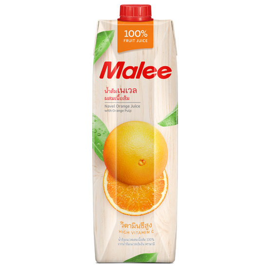 มาลี น้ำส้มเนเวลผสมเนื้อส้ม 100% 1000มล. ยกลัง12กล่อง