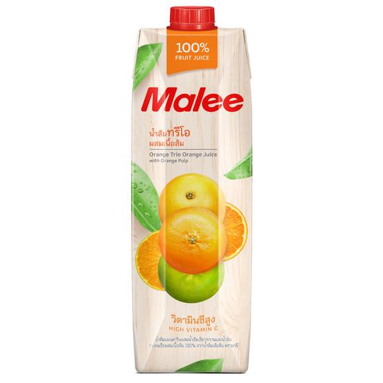 มาลี น้ำส้มทรีโอผสมเนื้อส้ม 100% 1000มล. ยกลัง12กล่อง