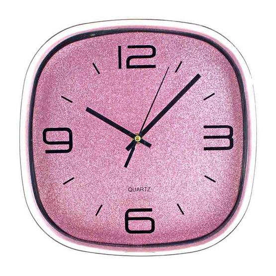 นาฬิกาแขวนผนัง กากเพชรสีชมพู