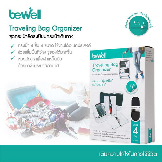 Bewell กระเป๋าใส่จัดระเบียบเดินทาง 1 เซ็ตมี 4 ใบ