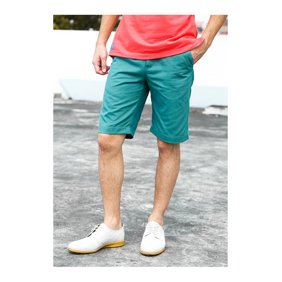 กางเกงขาสั้น สีเขียว รุ่น ฟอกนิ่ม