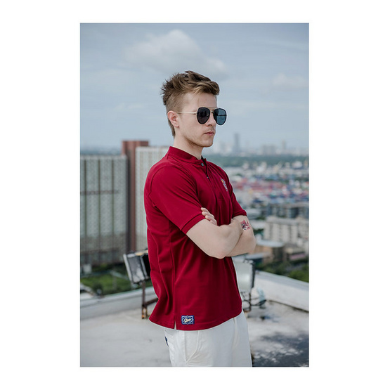 CLEAR เสื้อโปโล สีแดง รุ่น คอจีน