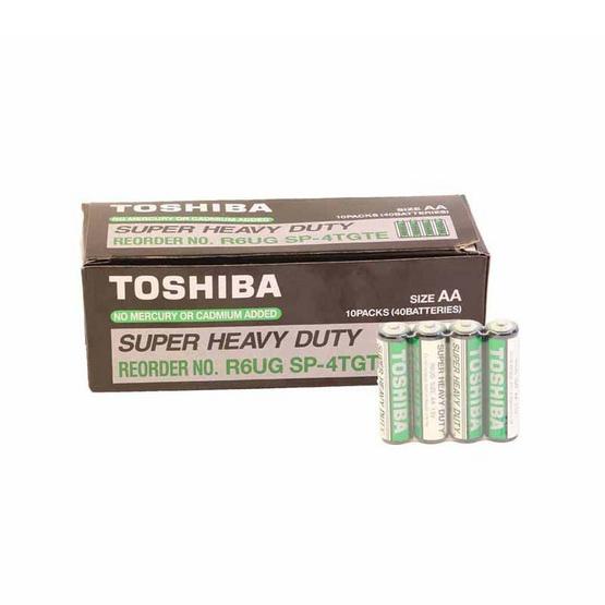 โตชิบา ถ่านคาร์บอนซิงค์ Super Heavy Duty AA แพ็ค 4 - 1 กล่อง 10 แพ็ค (40 ก้อน)