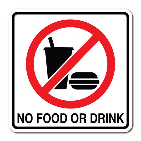 PANKOป้ายสัญลักษณ์ ห้ามทานอาหารและเครื่องดื่ม    12x12 ซม.