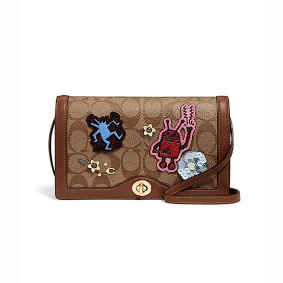 COACHF55643 KEITH HARING HAYDEN FOLDOVER CROSSBODY CLUTCH IN SIGNATURE CANVAS WITH PATCHES  (IME7V) [MCF55643IME7V]