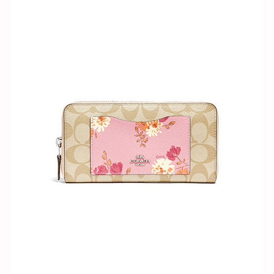 COACH F73011 ACCORDION ZIP WALLET IN SIGNATURE CANVAS WITH PAINTED PEONY PRINT POCKET (SVOU7) [MCF73011SVOU7]