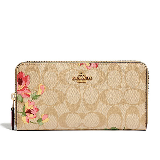 COACH F73345 ACCORDION ZIP WALLET IN SIGNATURE CANVAS WITH LILY PRINT  (IMOE3) [MCF73345IMOE3]