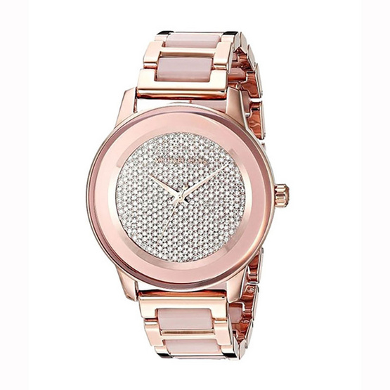 Michael MK6432 Kinley Rose Gold-Tone and Blush Acetate Three-Hand Watch [MCMK6432]