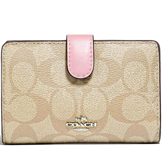 COACH F23553 MEDIUM CORNER ZIP WALLET IN SIGNATURE CANVAS (SVOSA) [MCF23553SVOSA]