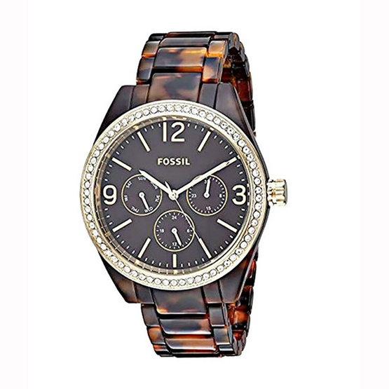 Fossil BQ3344 Chronograph Glitz Brown Acetate Bracelet Women Watch [MCBQ3344]