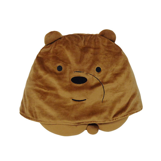 We Bare Bears หมอนรองคอมีฮู้ดกระดุมติด -หมีกรีซ
