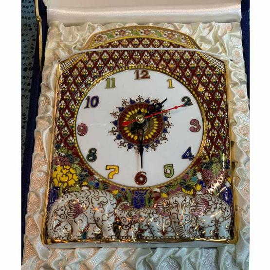 หนูเล็กเบญจรงค์ นาฬิกาตั้งโต๊ะ ฐานช้าง