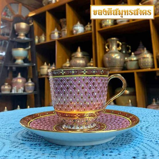 หนูเล็กเบญจรงค์ ชุดกาแฟ+จานรอง ลายพุ่มเทียนหยด สีชมพู