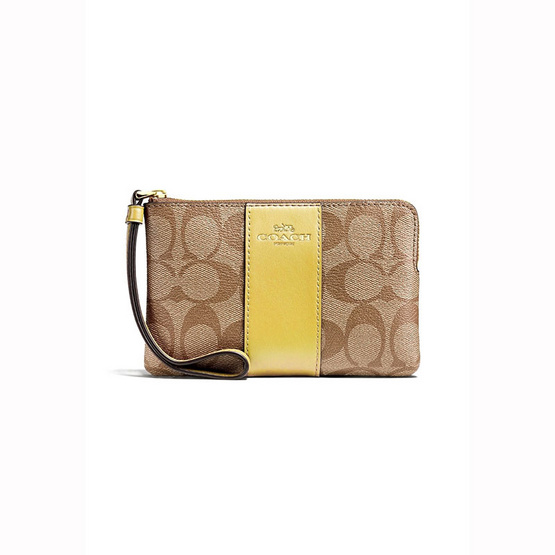กระเป๋า COACH F58035 CORNER ZIP WRISTLET IN SIGNATURE COATED CANVAS WITH LEATHER STRIPE  (IMDXD) [MCF58035IMDXD]