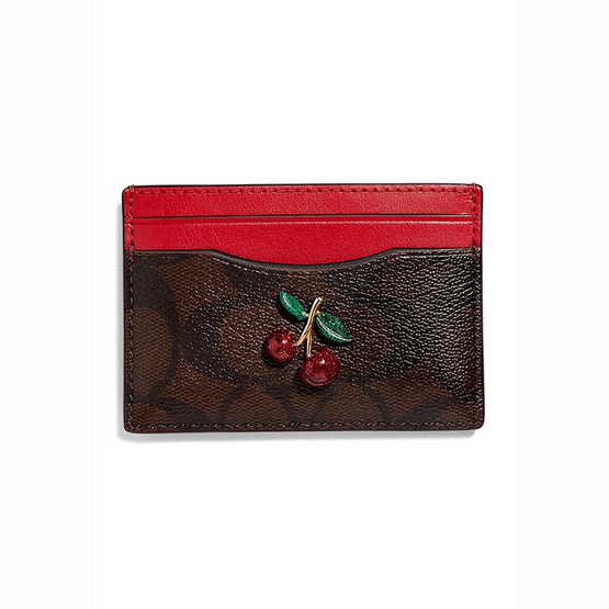 COACH F73079 CARD CASE IN SIGNATURE CANVAS WITH FRUIT (IMOTQ) [MCF73079IMOTQ]