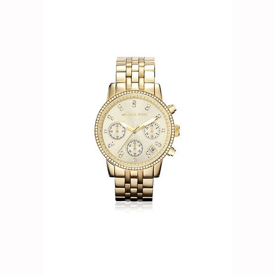 Michael Kors นาฬิกา Michael MK5698 WOMENS MICHAEL KORS GOLD RUNWAY CHRONOGRAPH STAINLESS STEEL WATCH [MCMK5698]