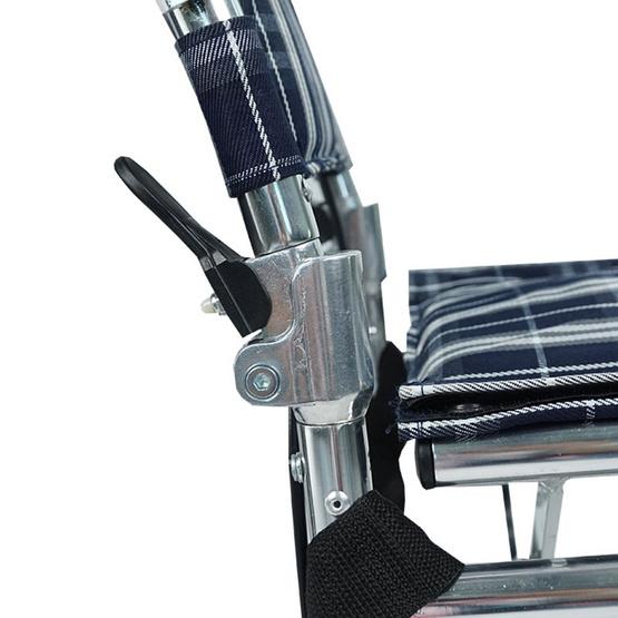 Fasicare TAVEL รถเข็นผู้ป่วยอะลูมิเนียมอัลลอย รุ่น FAL-115W เบาะลายสก็อต ฟรี!กระเป๋าใส่รถเข็น