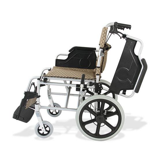 Fasicare TAVEL รถเข็นผู้ป่วยอะลูมิเนียมอัลลอย รุ่น FAL-117SG เบาะสีน้ำตาลทอง ล้อแม็กขนาด 40 ซม. เคลื่อนย้ายสะดวก