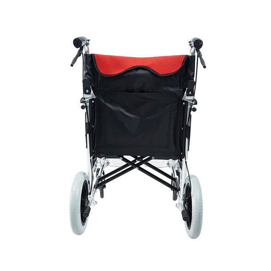 Fasicare TAVEL รถเข็นผู้ป่วยอะลูมิเนียมอัลลอย รุ่น FAL-119RB เบาะสีแดง ถอดซักได้ พับพนักพิงหลังได้