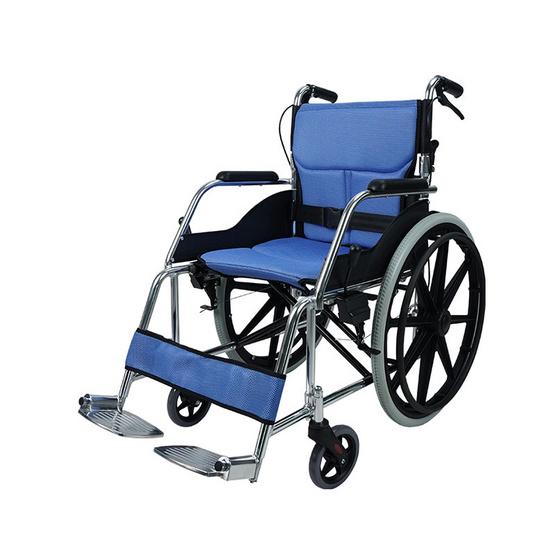 Fasicare TAVEL รถเข็นผู้ป่วยอะลูมิเนียมอัลลอย รุ่น FAL-114B เบาะสีน้ำเงิน ถอดซักได้ พับพนักพิงหลังได้