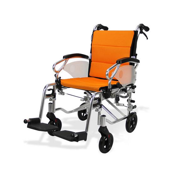 Fasicare TAVEL รถเข็นผู้ป่วยอะลูมิเนียมอัลลอย รุ่น FAL-118OR เบาะสีส้ม ถอดซักได้