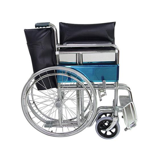 Fasicare TAVEL รถเข็นผู้ป่วยเหล็กชุบโครเมียม รุ่น FIC-211BL เบาะพีวีซีสีกรมท่า พับได้