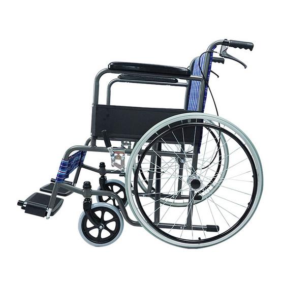 Fasicare TAVEL รถเข็นผู้ป่วยเหล็กชุบโครเมียม รุ่น FIC-213BS เบาะลายสก๊อตสีน้ำเงินตัดเเดง มีเบรกมือ