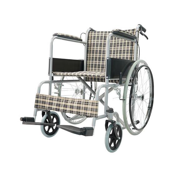 Fasicare TAVEL รถเข็นผู้ป่วยเหล็กชุบโครเมียม รุ่น FIC-213YB เบาะลายสก็อตสีเหลืองตัดกรมท่า มีเบรกมือ