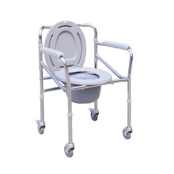 Abloom เก้าอี้นั่งถ่าย เหล็กชุบ พับได้ ปรับระดับได้ รุ่นมีล้อ